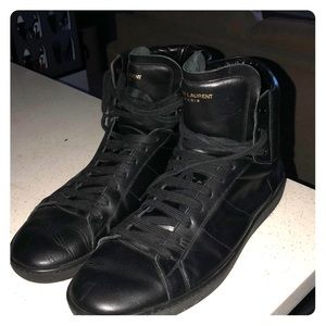Saint Laurent Shoes - Saint Laurent High Too All Black Sneakers